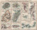 AFRICAN ISLANDS.Mauritius Madagascar Madeira Canaries St Helena 1900 old map